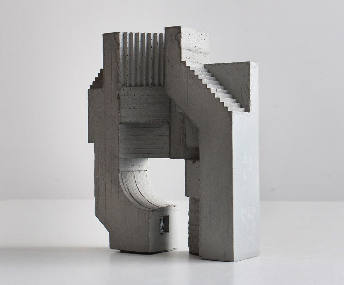 Concrete modular sculptures that create an optical illusion