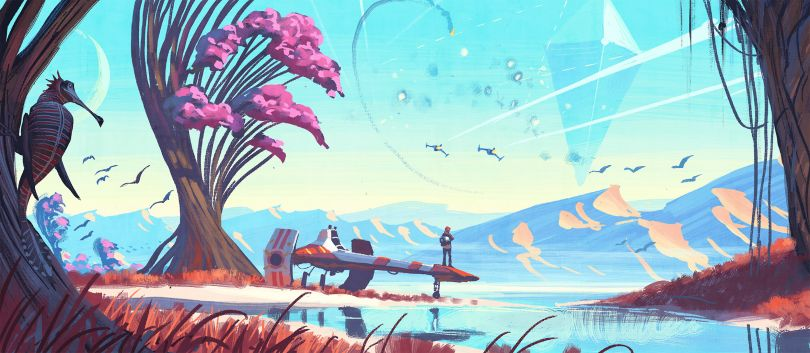 For No Man's Sky, a small independent team created an entire universe. Players can explore the beauty and adventure of flying their spaceship to over 18 quintillion planets, negotiating hostile environments, engaging in dogfights and using a hyperdrive to visit other galaxies. © 2016 Hello Games Ltd. Developed by Hello Games Ltd. All rights reserved