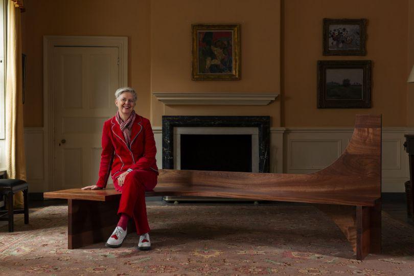 Nina Tolstrup sitting on her bespoke chair for Please Sit at Fenton House. Photo: Oskar Proctor