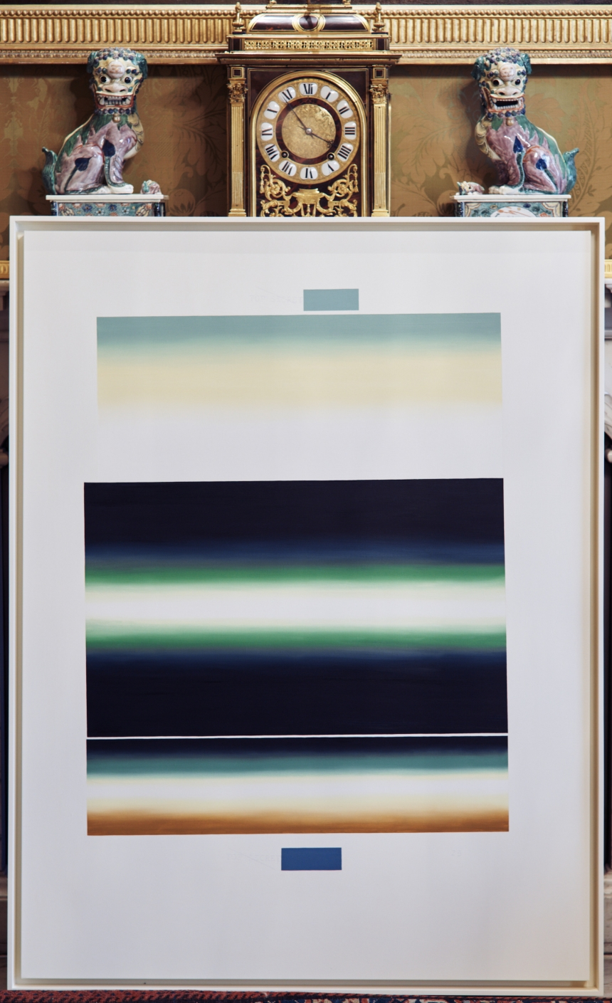 TOP SECRET 25 , 2012. U.S. government document SOFTER: Jenny Holzer at Blenheim Palace , Blenheim Palace, Woodstock, UK, 2017 © 2017 Jenny Holzer, member Artists Rights Society (ARS), NY Photo: Edd Horder