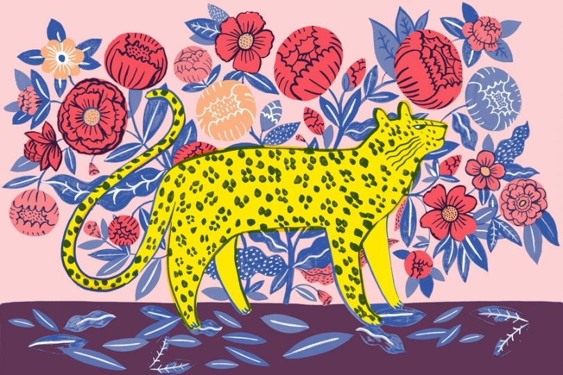 Leopard with walls print