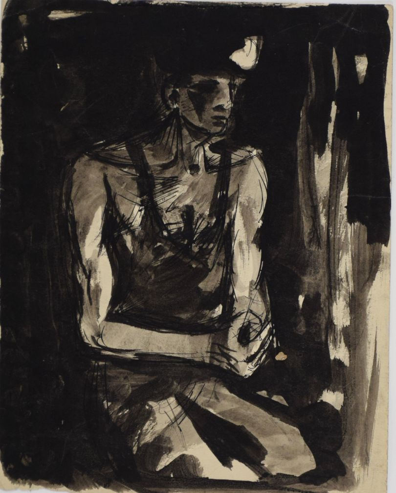 David McClure. Head of a Miner. 1948. Pen and ink on paper. 225mm x 235mm. Photograph: Richard Hawkes. Copyright: The David McClure Estate. Courtesy of The Auckland Project.