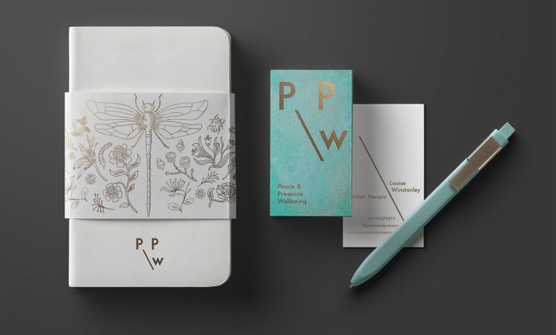 Peace and Presence Well-Being Branding by Lisa Winstanley. Winner in the Graphics and Visual Communication Design Category, 2019-2020.