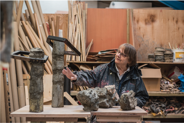 Phyllida Barlow in her studio. Photograph courtesy of the artist