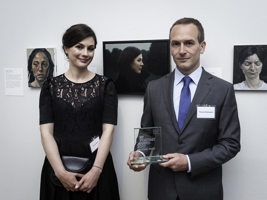 Second Prize Winner Thomas Ehretsmann, with his wife Caroline Ehretsmann and portrait Double Portrait. Photography © Jorge Herrera
