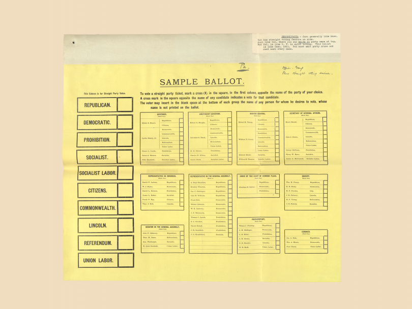 Early Federal ballots: Americans made modifications to the Australian format by adding columns that allowed voters to choose a straight party ticket. This 1906 ballot from Pennsylvania shows names grouped by office with a straight party option.