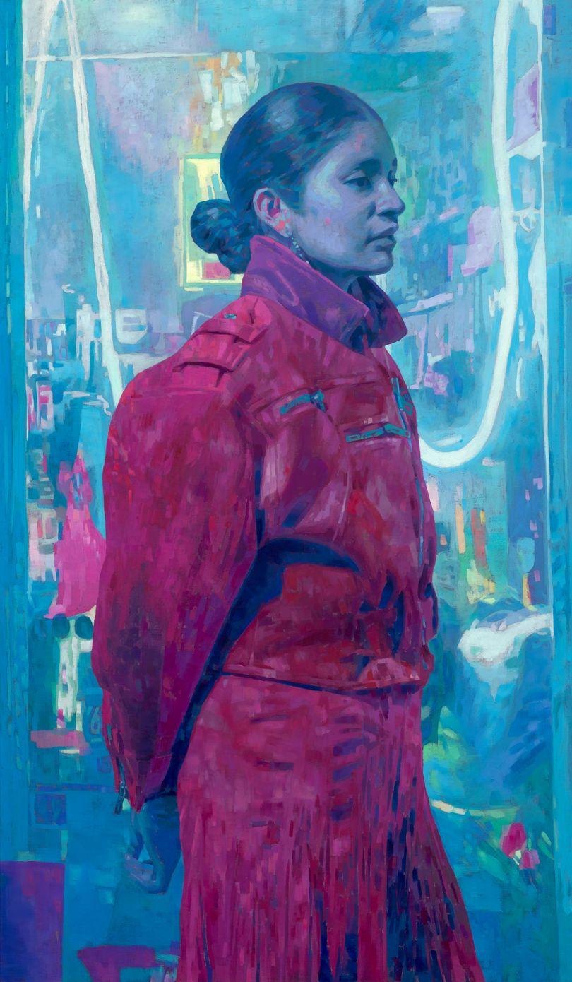 Keita Morimoto, Light City, 2019, acrylic and oil on linen, 72 x 42 in., courtesy of Nicholas Metivier Gallery, Toronto