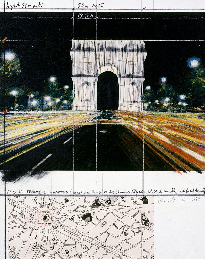 Arc de Triomphe, Wrapped, (Project for Paris), Collage 1961–88: 71.1 x 55.9 cm (28 x 22