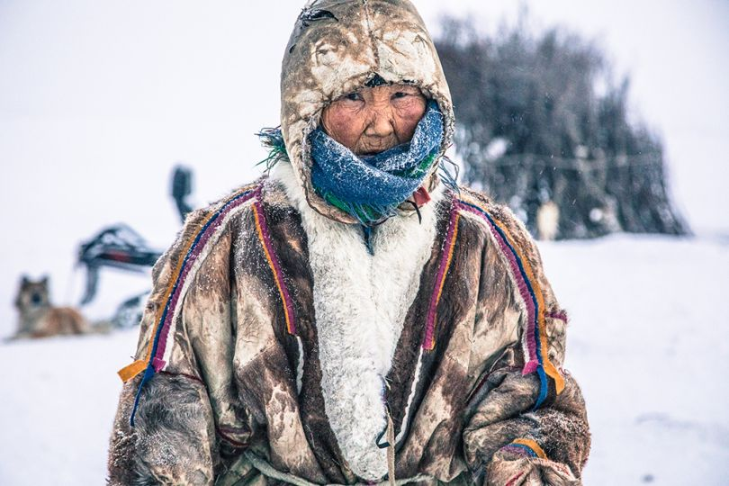 Praskovya is 96 years old, and the oldest Nenets grandmother living on the tundra. Even at 96, her age does not stop her from spending many hours outside, helping with the herd, and cutting firewood. Image credit: Alegra Ally/Schilt Publishing