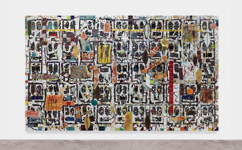 Rashid Johnson Broken Crowd 2020 Ceramic tile, mirror tile, spray enamel, oil stick, black soap, wax 294.6 x 491.5 x 7.6 cm
