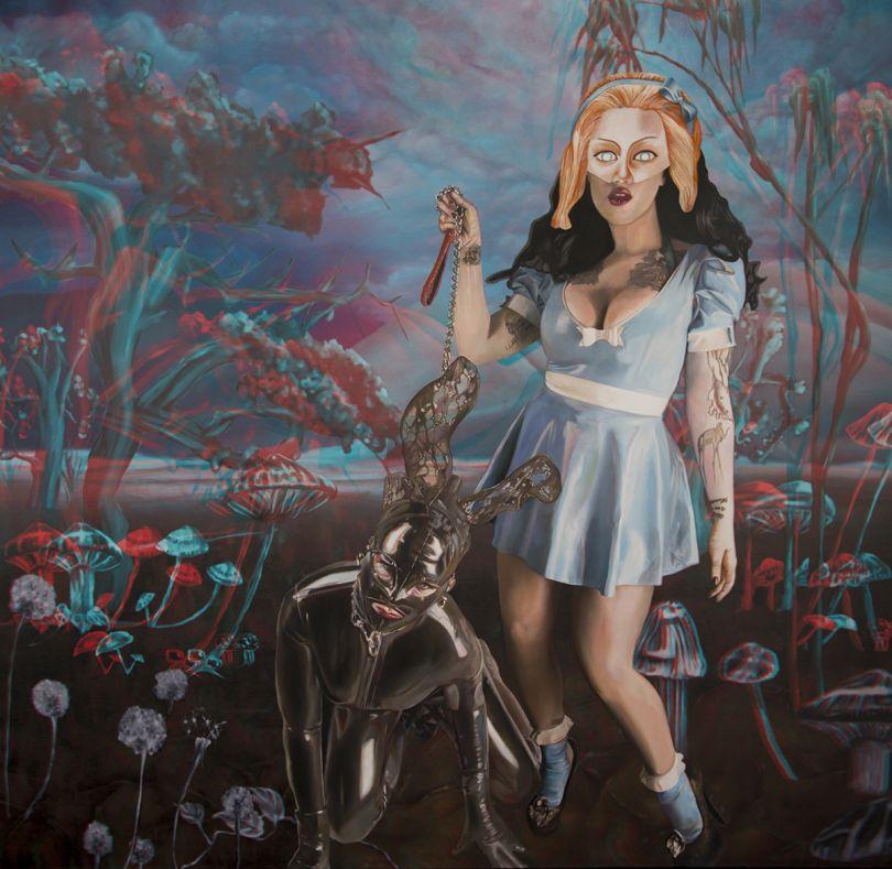 Latex Alice and the black rabbit