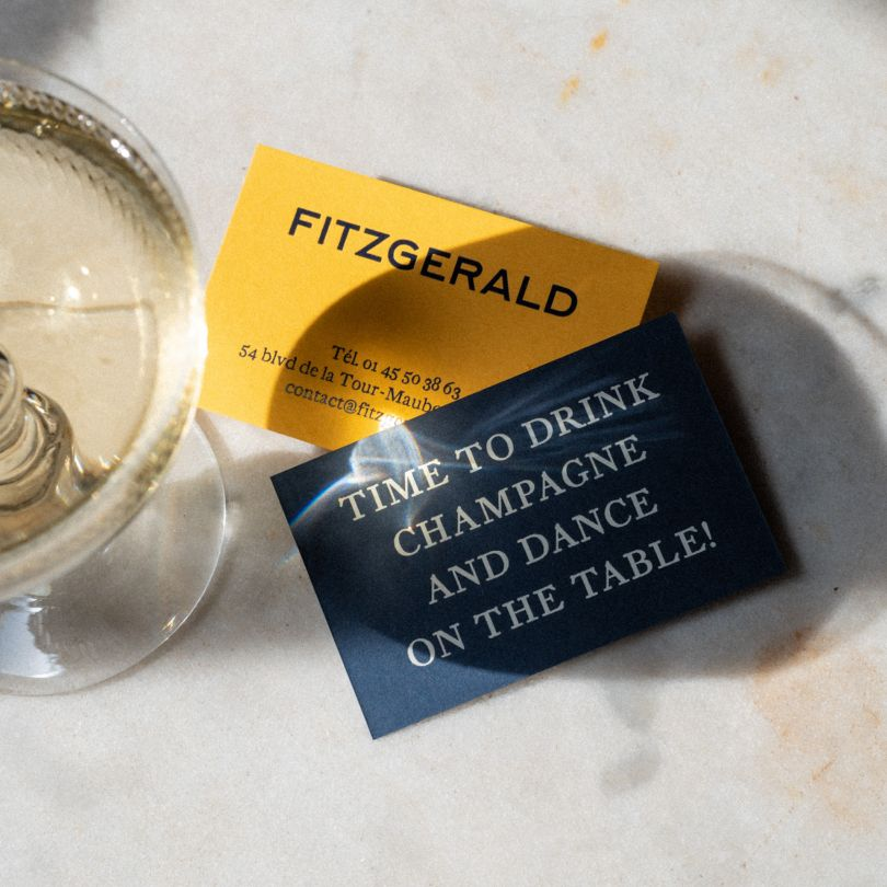 Aligre in use by Abmo for Fitzgerald, a restaurant in Paris. Cards printed by Atelier Bulk, Photo by Dez Gusta.