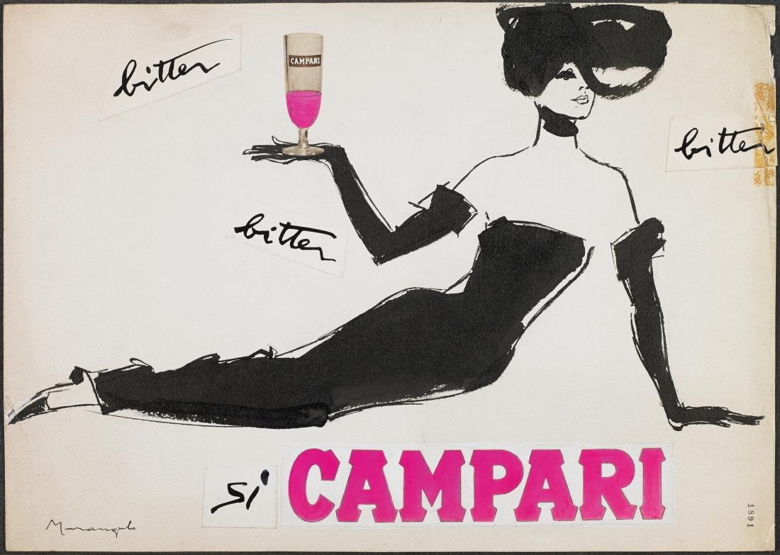 Franz Marangolo, Bitter Campari, 1960s Mixed Media