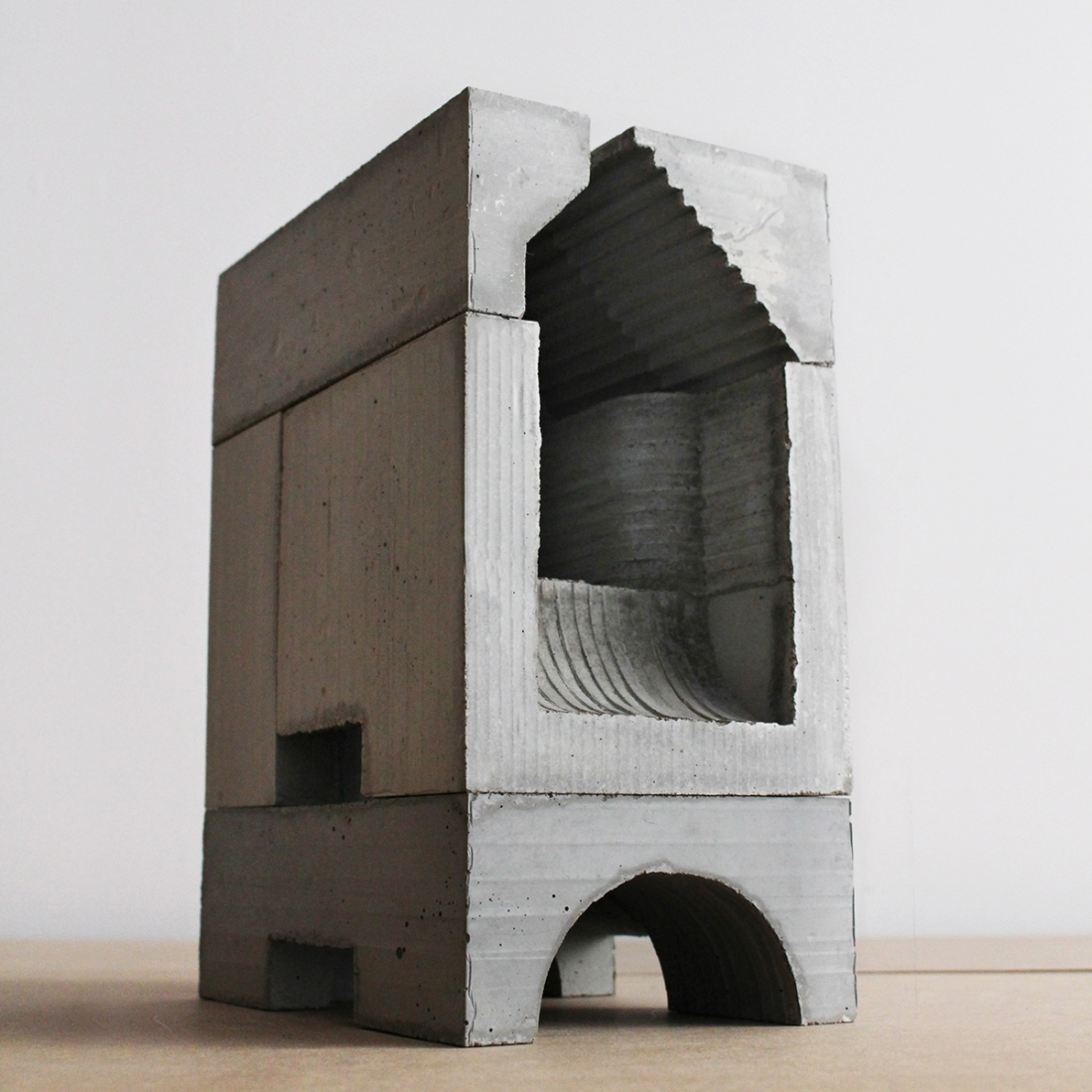 miniature concrete sculptures of brutalist structures can be used like grown