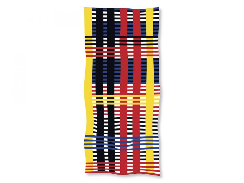 After Anni (Design for Wall Hanging, 1926) Beach Towel. Courtesy of E-WERK and Studio Lorenz Klingebiel. With permission from The Josef and Anni Albers Foundation