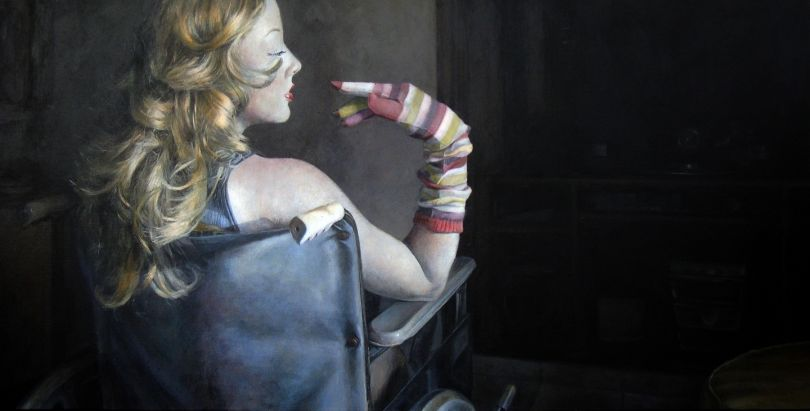 Paula Saneaux - Yes it is No its not - Acrylic on canvas - 24x48 in - 2009