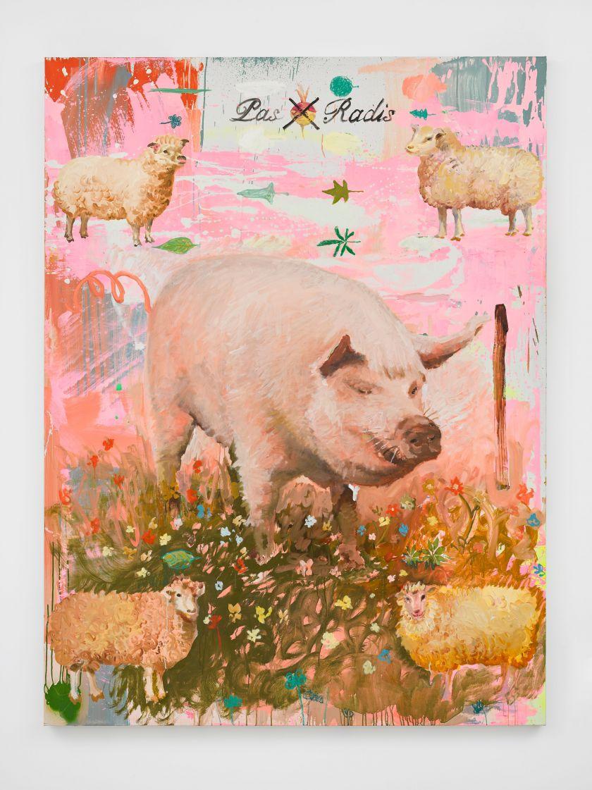 Tursic & Mille, Le Pas-Radis ou l'Étrange Porc-trait Recadré par ses 4 Followers (October), 2020, oil on canvas, 200 x 150 cm.; 78 3/4 x 59 in. © Tursic & Mille. Courtesy the artists and Galerie Max Hetzler Berlin   Paris   London. Photo: Jack Hems