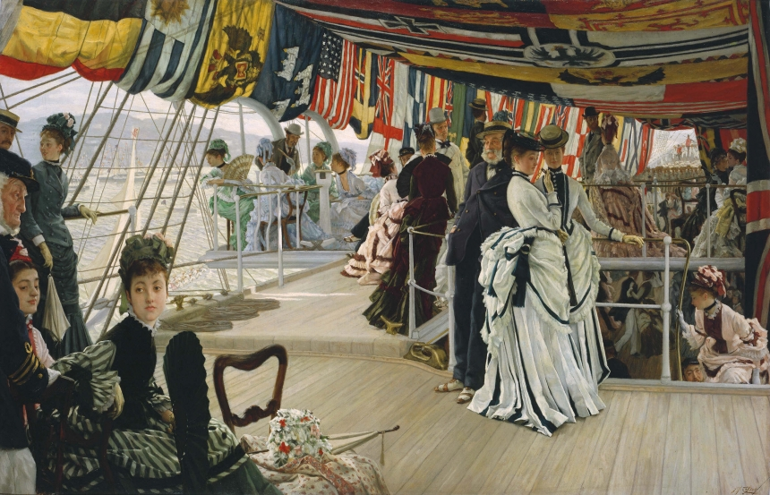 James Tissot (1836-1902) The Ball on Shipboard c.1874 Oil paint on canvas 1012 x 1476 x 115 mm Tate. Presented by the Trustees of the Chantrey Bequest 1937