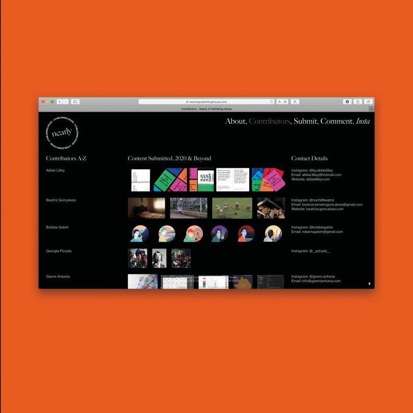 Contributors Page, www.nearlyapublishinghouse.com / @nearlypublish