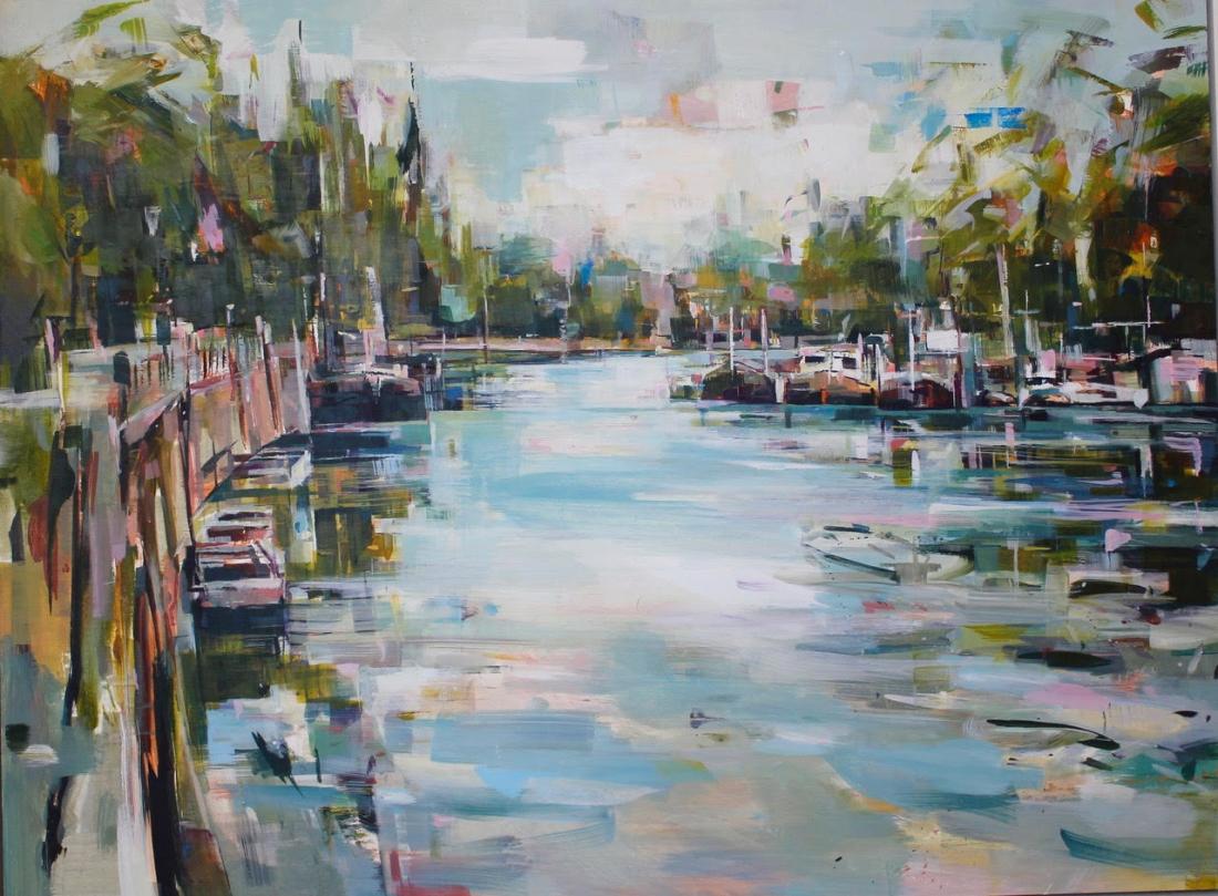 """River Walk"", oil on panel 100 x 75 cm"