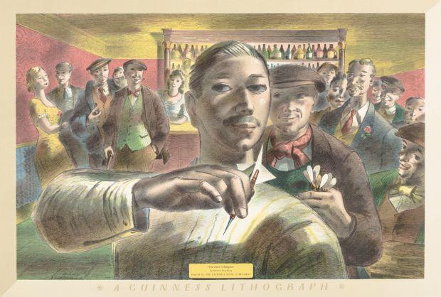 Barnett Freedman, The Darts Champion (for the Guinness Prints), 1956, Lithograph on paper, Emma Mason © Barnett Freedman Estate