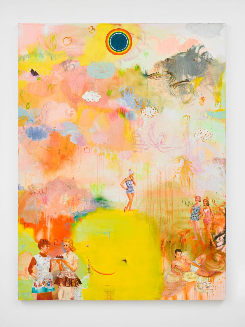 Tursic & Mille, Happiness and Clouds (August), 2021, oil and white gold leaf on canvas, 200 x 150 cm.; 78 3/4 x 59 in. © Tursic & Mille. Courtesy the artists and Galerie Max Hetzler Berlin   Paris   London. Photo: Jack Hems