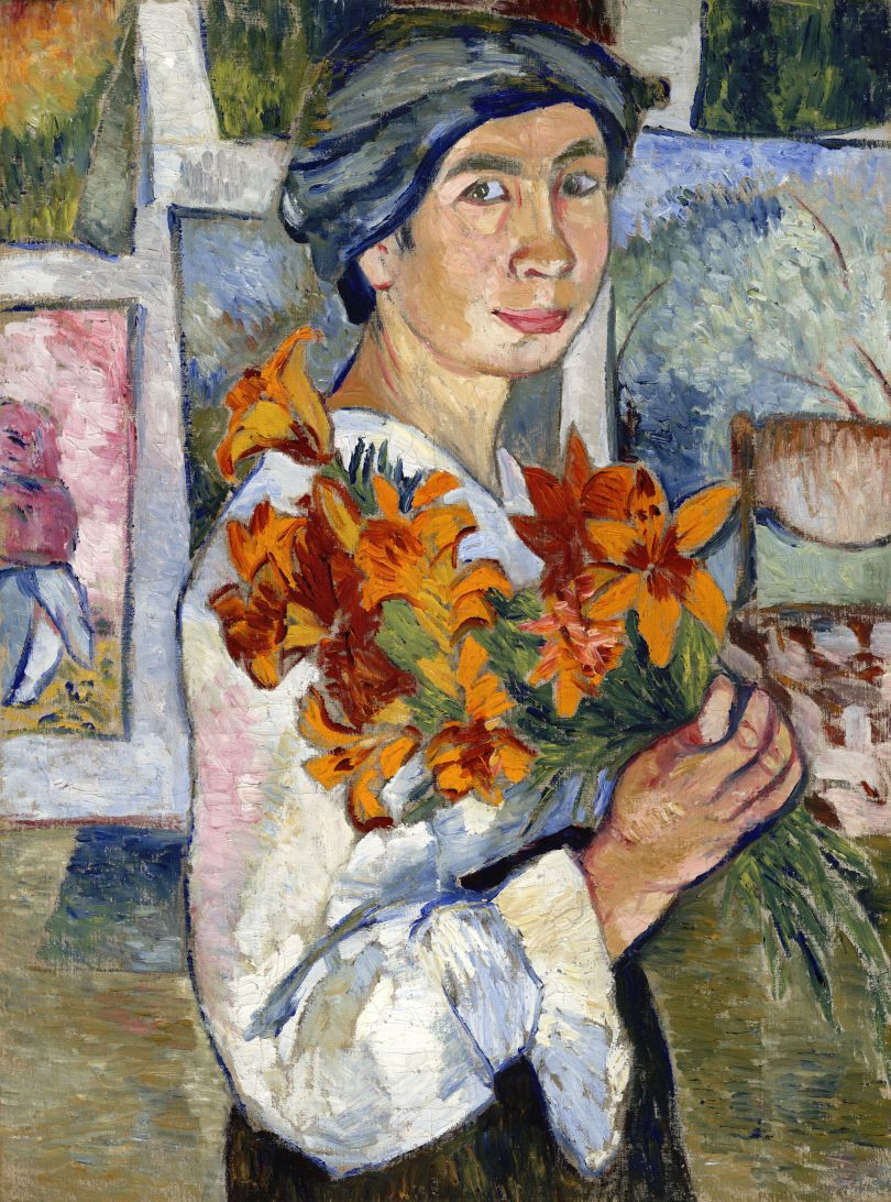Natalia Goncharova (1881- 1962) Self-Portrait with Yellow Lilies 1907-1908 Oil paint on canvas 775 x 582 mm State Tretyakov Gallery, Moscow. Purchased 1927 © ADAGP, Paris and DACS, London 2019