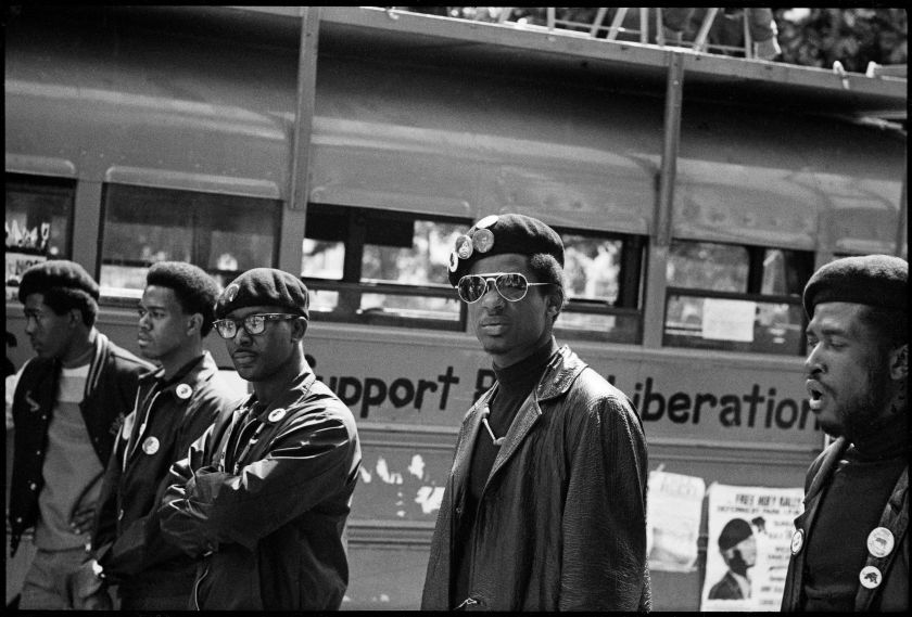 """Black Panthers at a Free Huey rally at Defermery Park, 1968, from, """"The Lost Negatives,"""" photographs by Jeffrey Henson Scales. Credit: Jeffrey Henson Scales"""