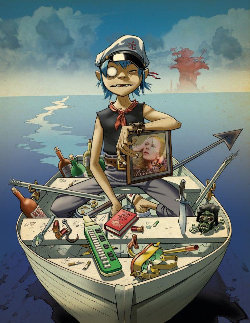 The Young Fool and the Sea, 2010 Album artwork for Gorillaz' Plastic Beach   © Jamie Hewlett