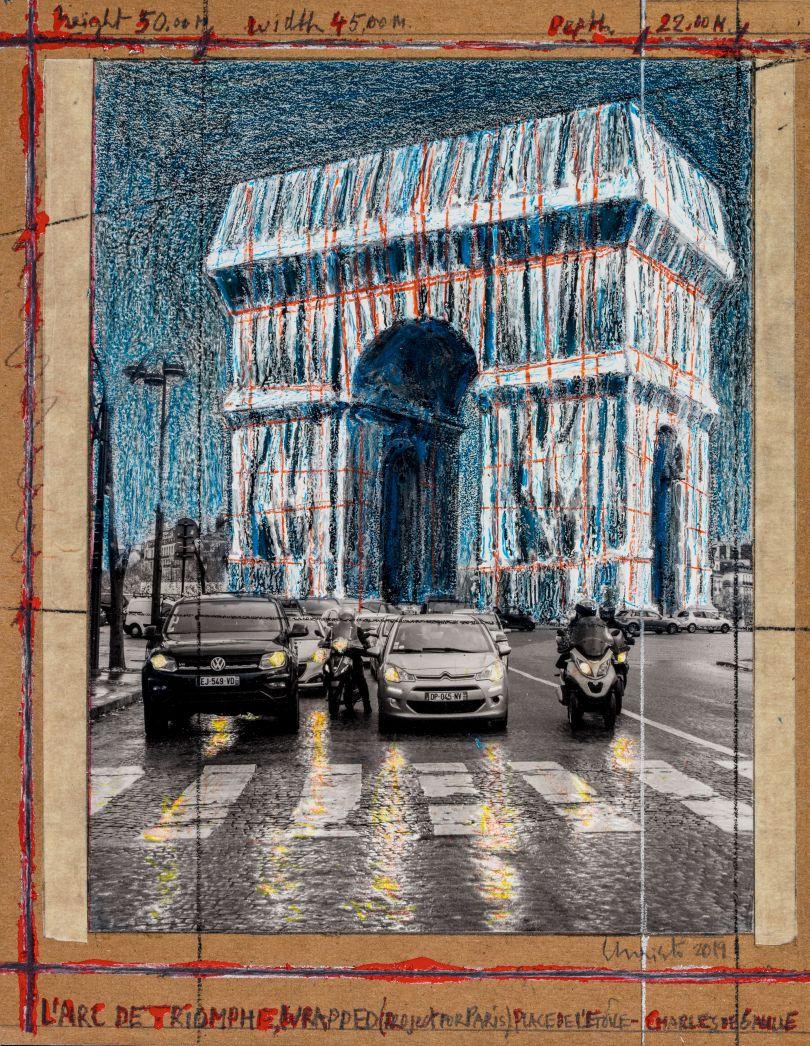 L'Arc de Triomphe, Wrapped (Project for Paris), Place de l'Etoile – Charles de Gaulle, Collage 2019: 28 x 21.5 cm (11 x 8.