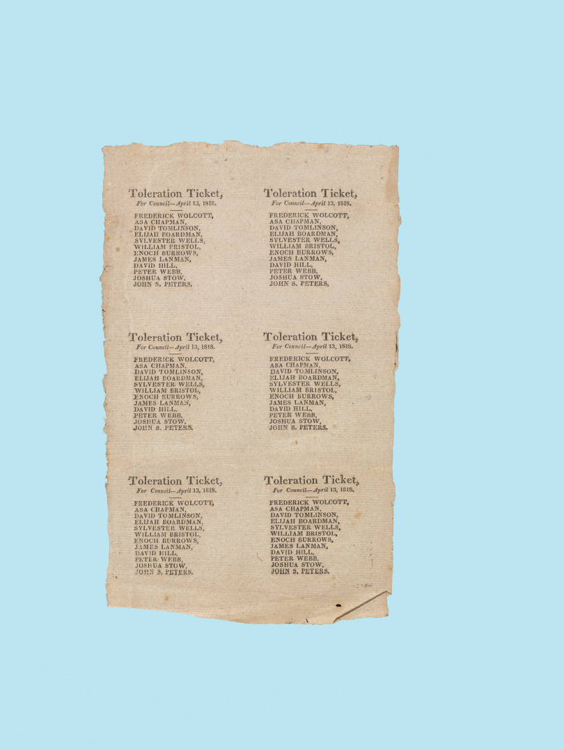 Toleration Ticket, Connecticut, 1818. This early ballot has the party list printed multiple times on one sheet to save paper. The individual tickets would have been trimmed and distributed to voters.