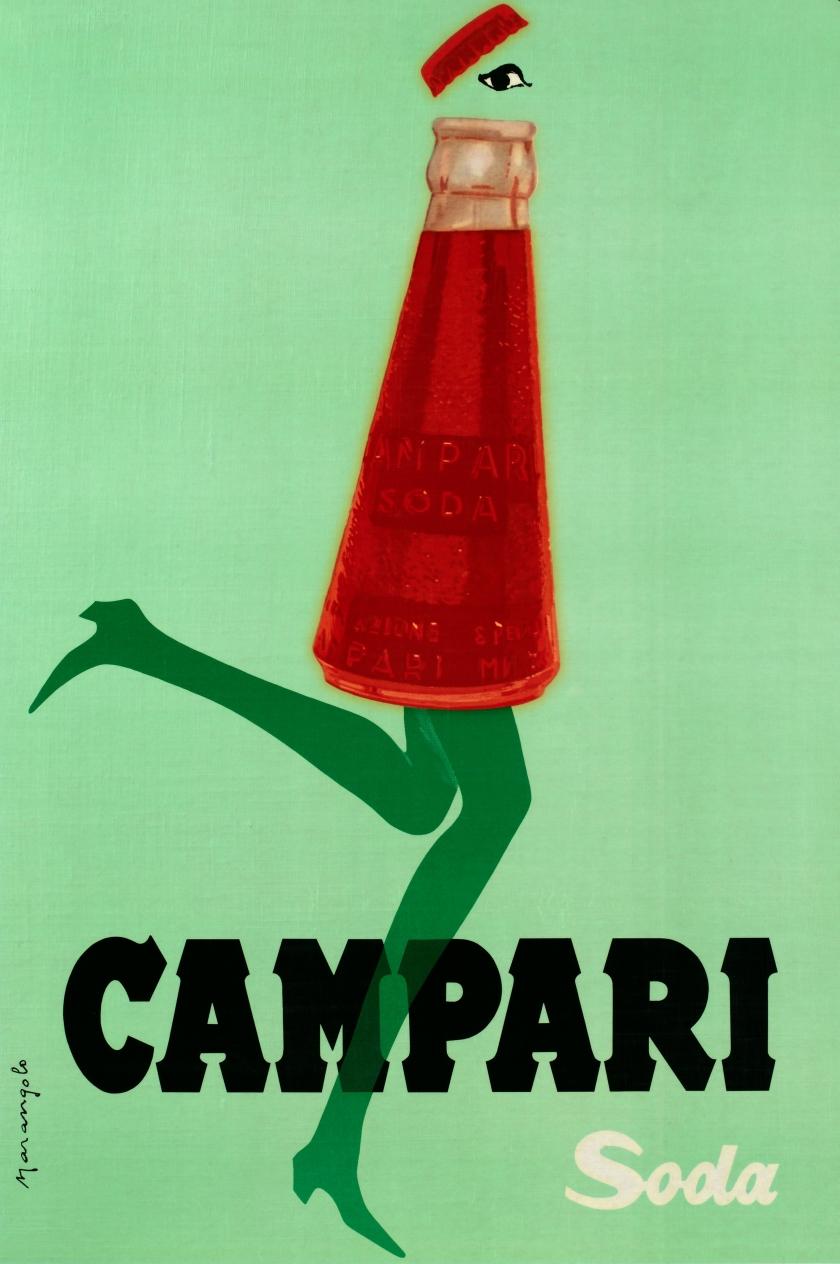 Franz Marangolo, Campari Soda corre col tempo!, 1960s. Campari Soda is in Line with the Times! Lithographic colour print on paper. All images courtesy: Archivio Galleria Campari, Milan.