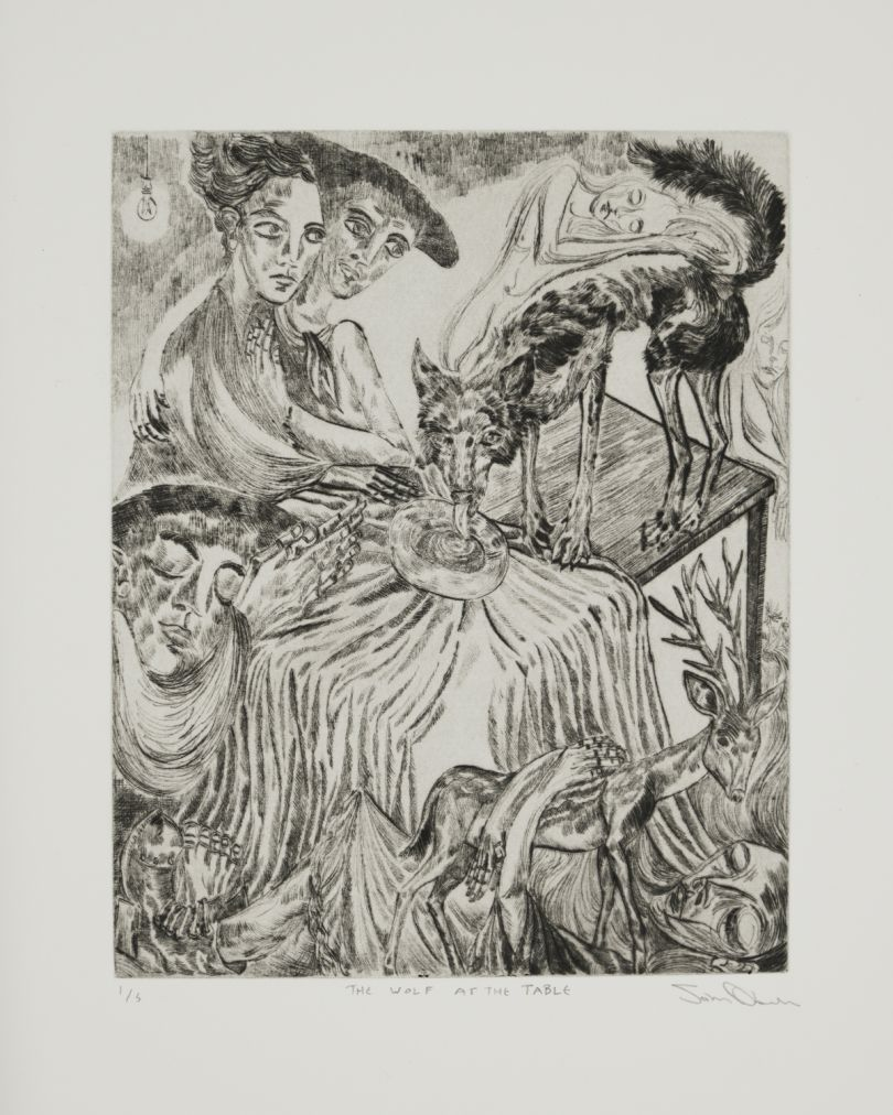 Arusha Gallery, John Abell, The Wolf at the Table, 2019 drypoint engraving, 57.5 x 37.5 cm. Photo credit: [John Sinclair](http://www.thebigsink.com)