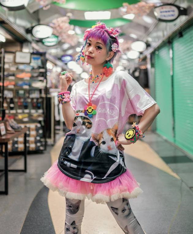 Kawaii fashion icon Kurebayashi wears a Nameneko shirt. The craze was unprecedented and everyone from office workers to schoolchildren loved these rebellious kitten goods. © Derek Yamashita. Via Creative Boom submission. All images courtesy of Prestel.