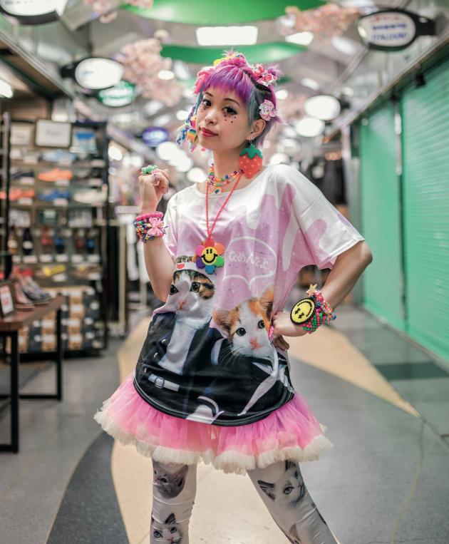 Kawaii fashion icon Kurebayashi wears a Nameneko shirt. The craze was unprecedented and everyone from office workers to schoolchildren loved these rebellious kitten goods. © Derek Yamashita. Via Creative Boom submission. All images courtesy of Prestel.