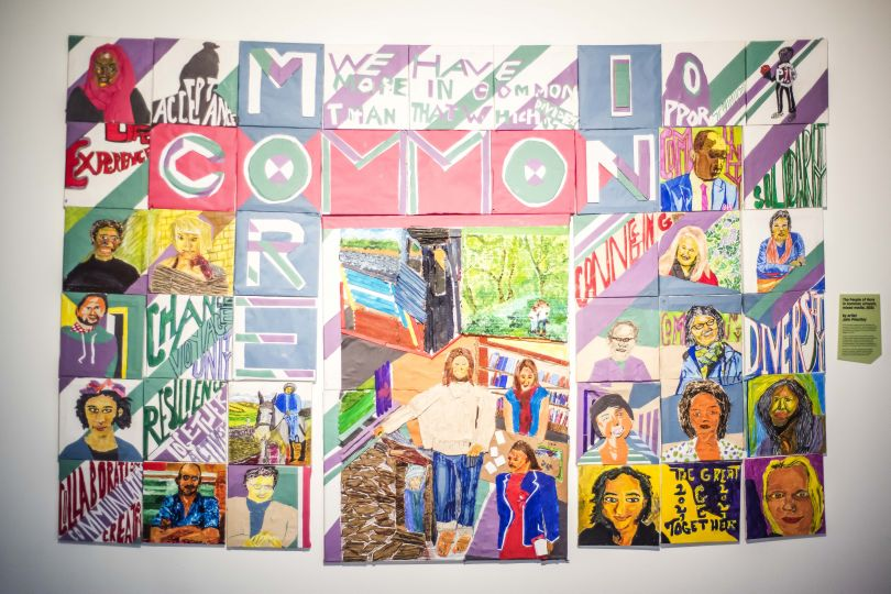 The People of More in Common artwork, 2021.  By John Priestley. More in Common - in memory of Jo Cox exhibition at People's History Museum