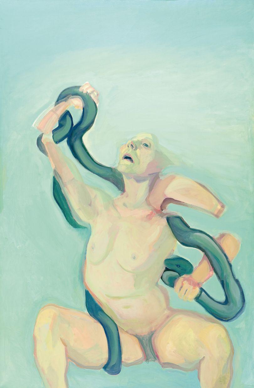 Maria Lassnig, Woman Laokoön, 1976, oil on canvas, 193 x 127 cm (76 x 50 in), Neue Galerie Graz, Universalmuseum Joanneum, Austria. Picture credit: Neue Galerie Graz, Universalmuseum Joanneum. © Maria Lassnig foundation. Photo: N. Lackner / UMJ