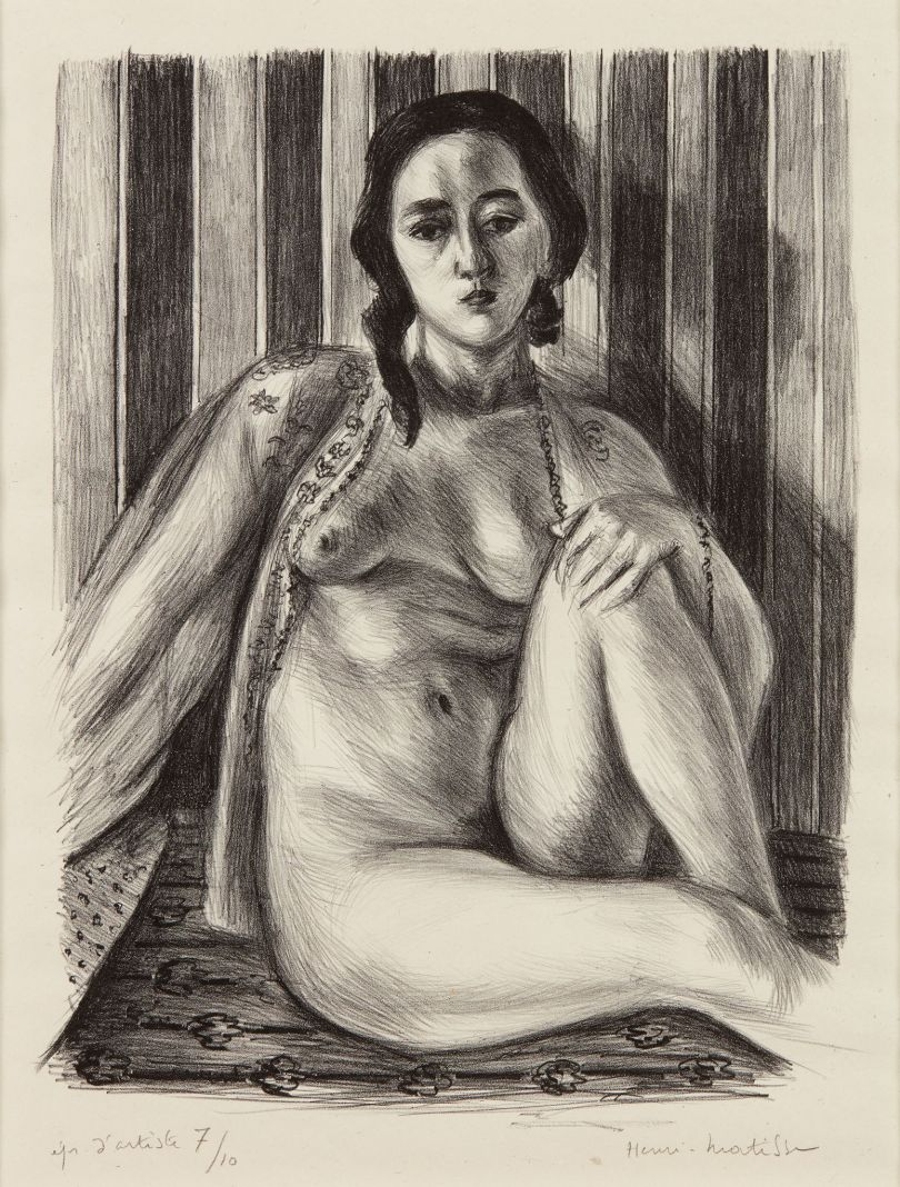 © Henri Matisse – Seated Nude Woman with a Tulle Blouse, 1925. Lithograph on China paper