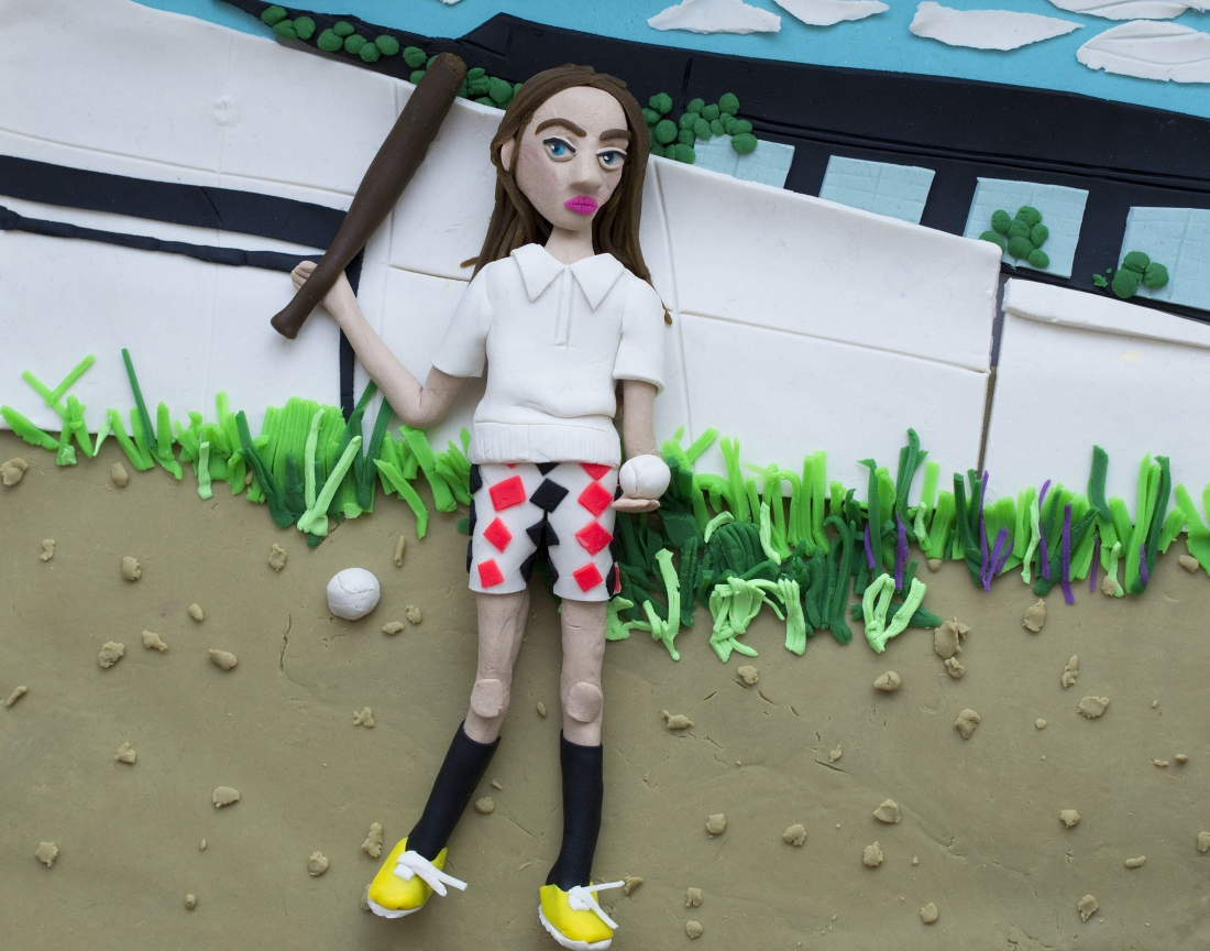 Original photograph: Girl with bat and ball, 1977 by Mark Cohen rendered in Play-Doh © Eleanor Macnair