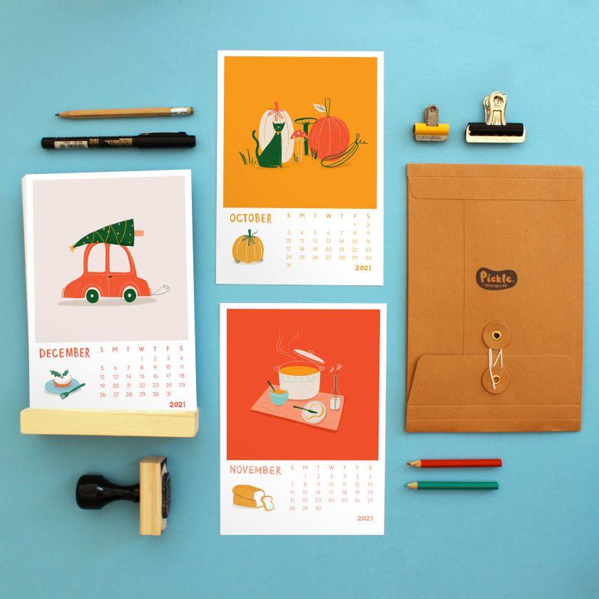 Pickle Illustration calendar by Olivia Collins and Lauren Jefferis