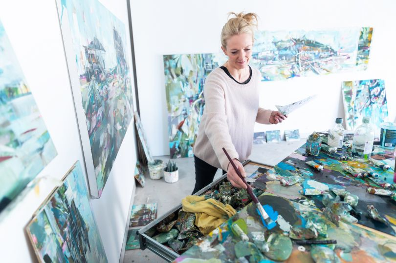Katharine in her studio at Delta House Studios, located just next door to the site