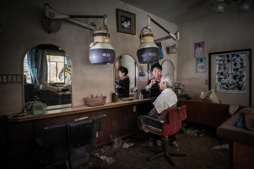 Hidemasa and Michiko Otaki in their old hairdressers in Tomioka