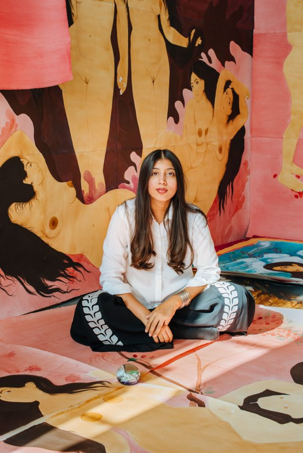 Hiba Schahbaz, one of the artists featured in the show. Photography by Charlie Rubin