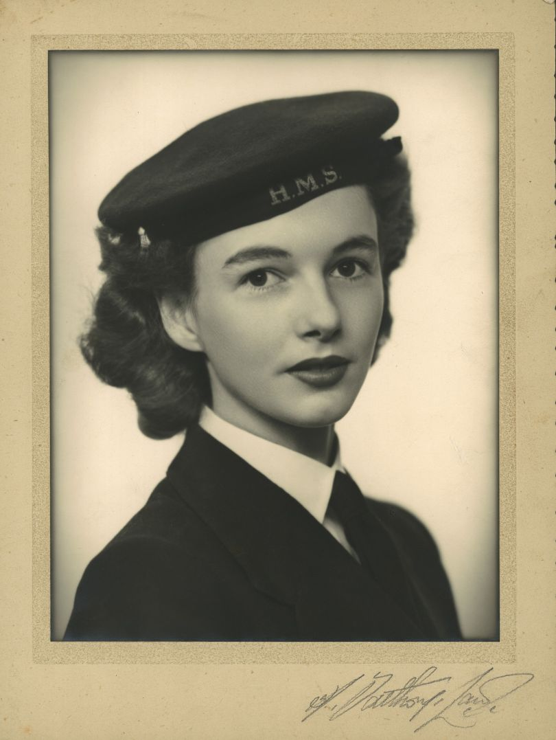 June, aged about 19, as a member of the Women's Royal Naval Service, known as the WRENS, about 1942-43. Credit: Photograph by H. Southorn-Laws, 4 Dee Lane, West Kirby, Cheshire