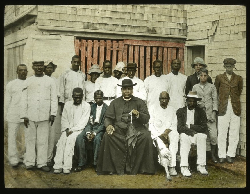 Father Purcell & Converts, Jamaica. Unknown photographer, c. 1890.  Courtesy Caribbean Photo Archive / Autograph ABP