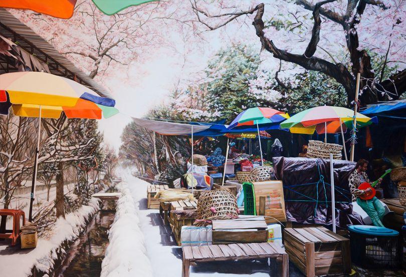 Kevin Chin, Rain Hail Shine, 2017, oil on Italian linen, 163 x 238 cm