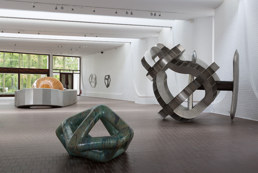 Richard Deacon, (left) 1992 Bikini, Wood and aluminium 165x1200x350cm, (middle), 2002 Like You Know, Glazed ceramic 80x135x114cm, (right) 1984 Body Of Thought #2, Mix medium, 248x300x258cm