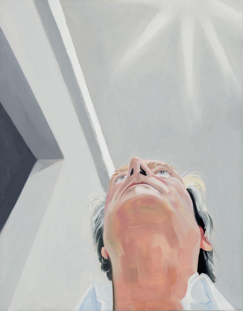 Self-Portrait Looking up, oil on linen, 2020 © Paul Gervais