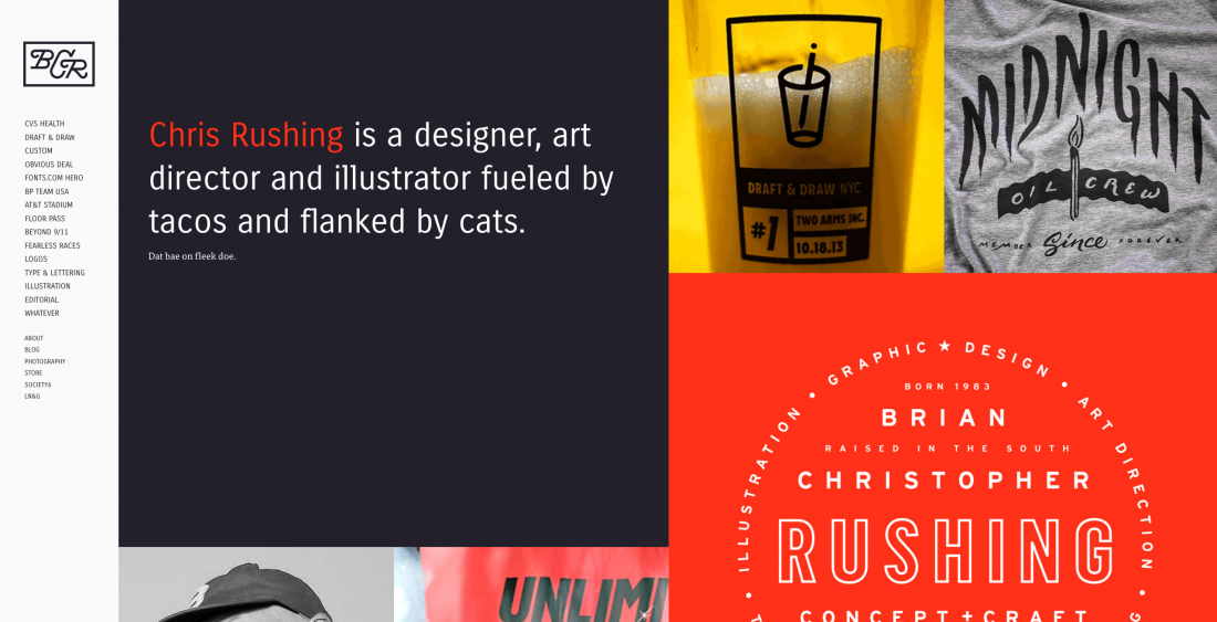 Designer [Chris Rushing](http://chrisrushing.com/) keeps his text admirably to-the-point