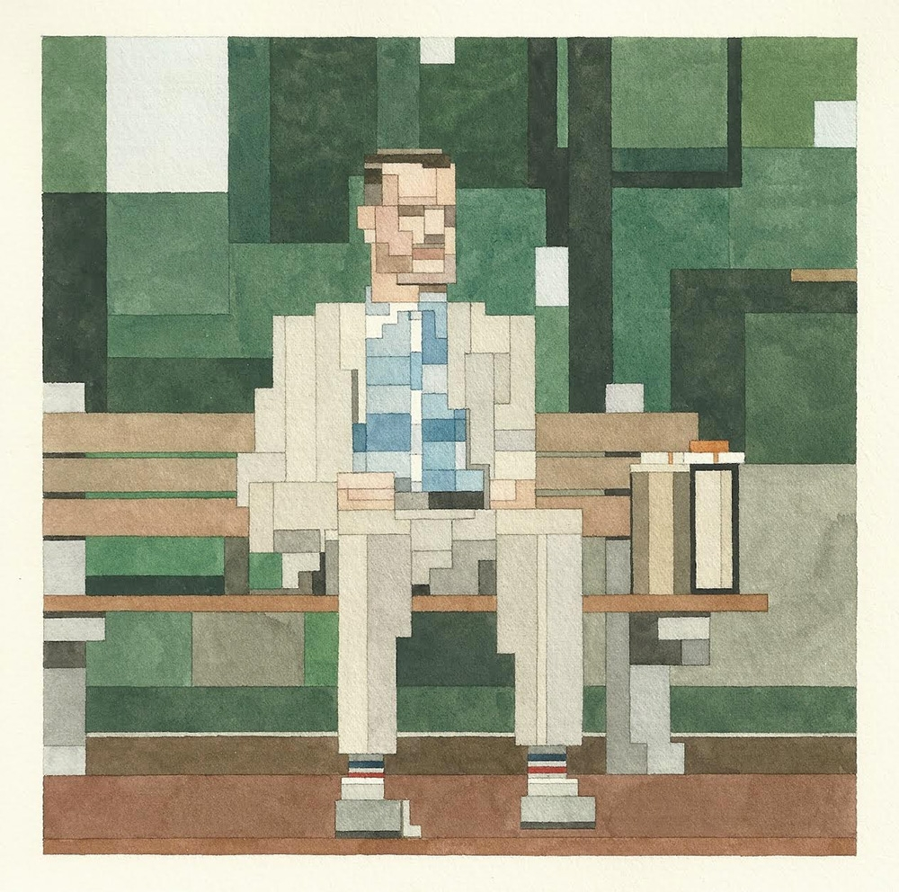 Watercolour paintings of cult films inspired by Atari and Nintendo 8-bit video games